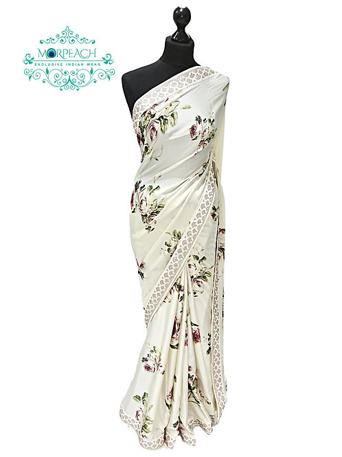 Cream Floral Satin Silk Saree