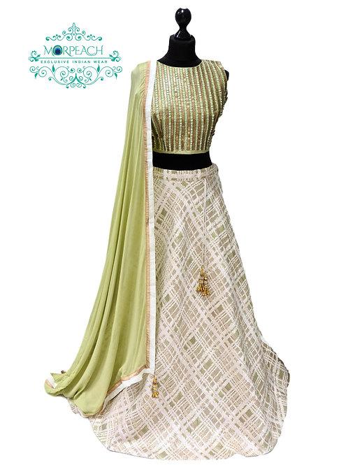 Cream And Green Silk Lehenga (Reg)