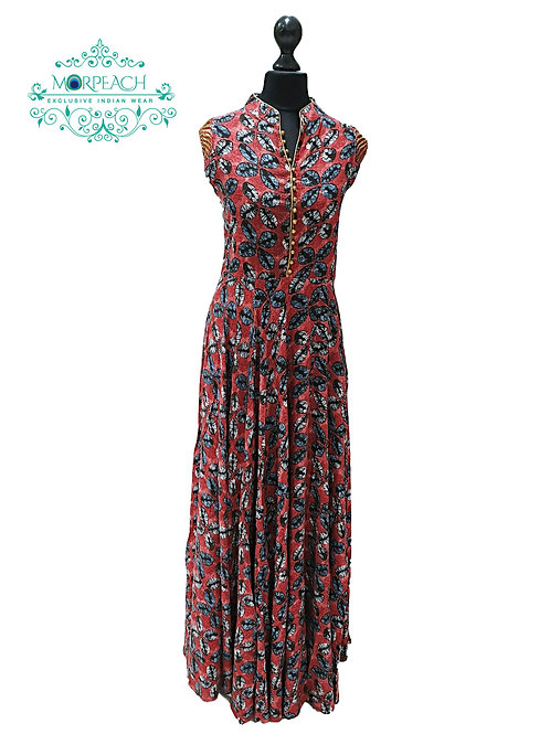 Red and Grey Rayon Kurti