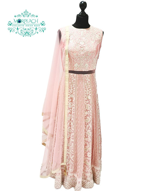 Baby Pink White Threadwork Embroidered Gown