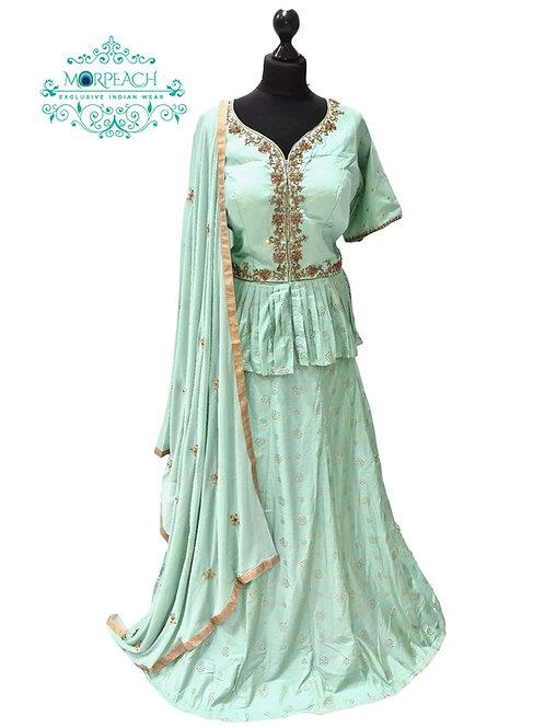 Green Long Top Silk Lehenga (4XL)