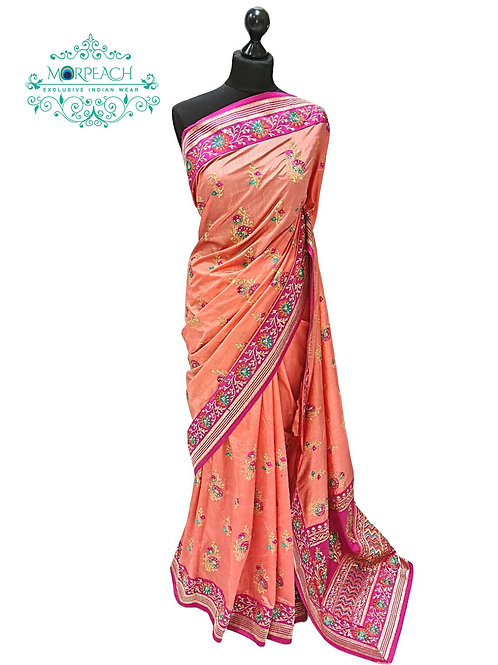 Peach Embroidered Silk Saree