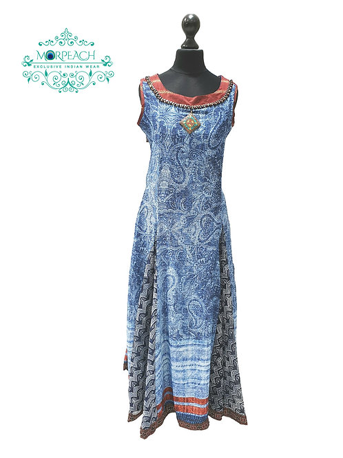 Blue Printed Chiffon Kurti (M)