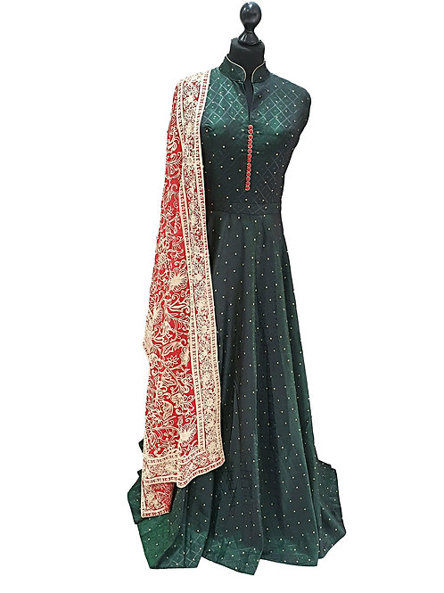 Dark Green Gown with red shawl