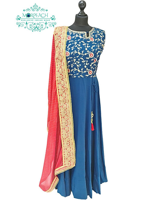 Blue and Red Full Flared Dress