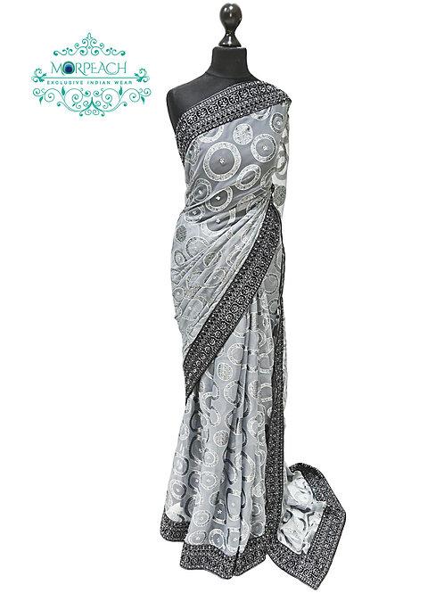 Grey Black Chiffon Saree