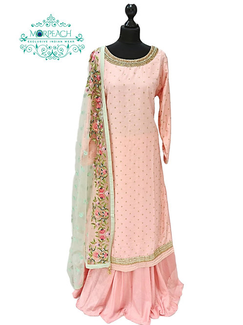 Pink 3 Piece Silk Gharara Set