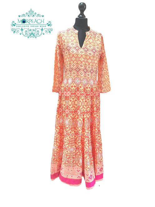 Orange Pink Printed Kurti (XL)
