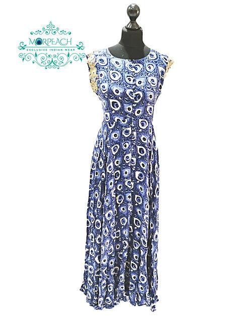 Blue Printed Rayon Kurti (XL)
