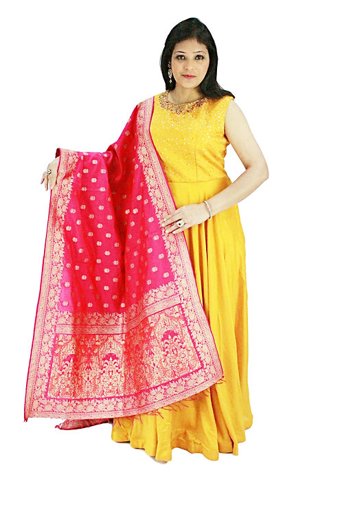Yellow Dress With Heavy Banarasi Dupatta