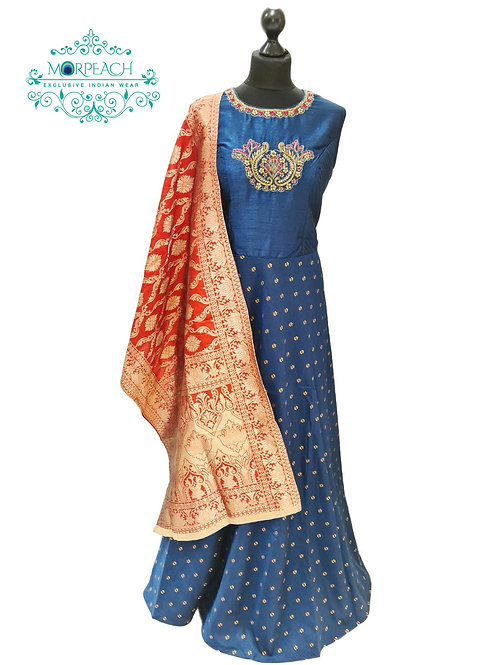 Greyblue and Red Banarasi Dress (2XL)