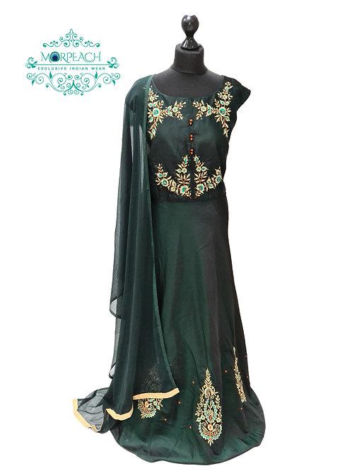Dark Green Silk Dress (4XL)