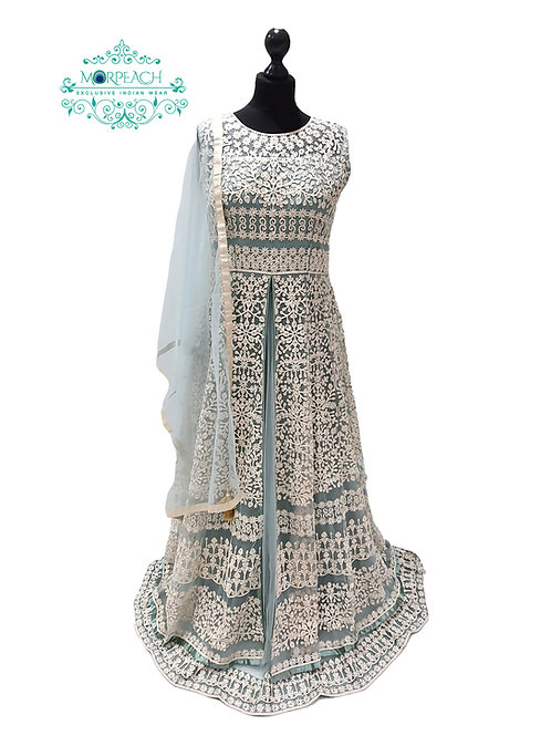 Grey Blue Thread Embroidered Gown (R)