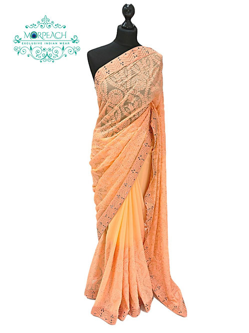 Peach Threadwork Chiffon Saree