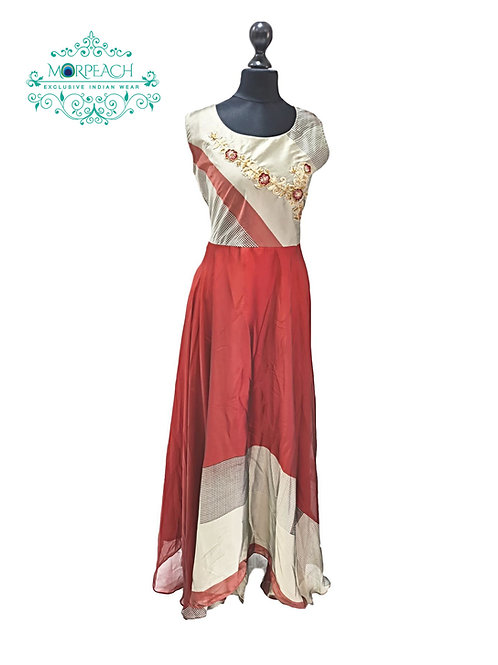 Red and Gold Kurti Gown