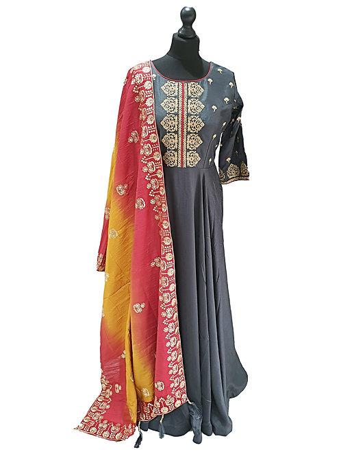 Grey Dress with Heavy Shaded Silk Dupatta