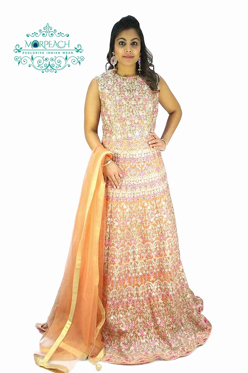 Bridal Orange Net Threadwork Gown (R)
