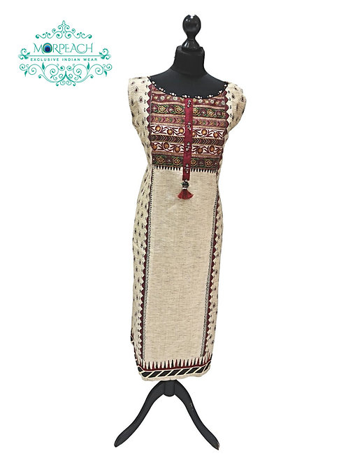 Beige Ethnic Cotton Kurti