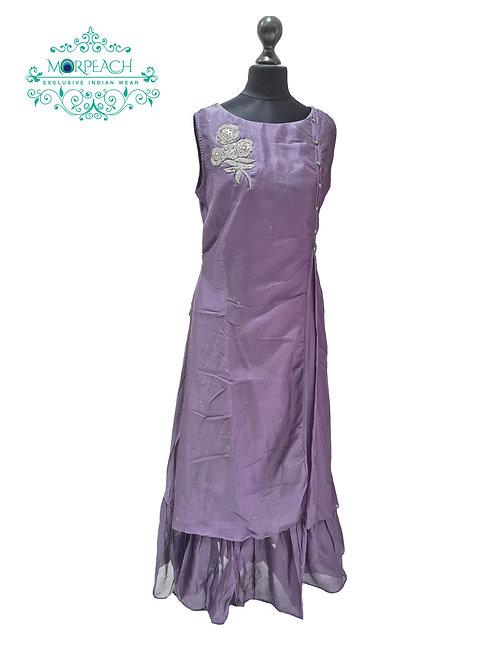 Purple Doulbe Layered Kurti