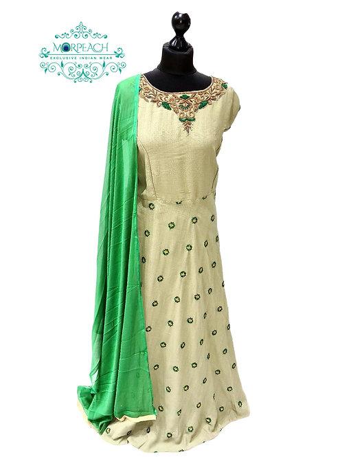 Dusty Green Threadwork Dress (4XL)