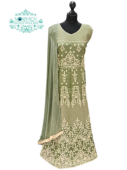 Henna Green Gold Embroidered Dress (3XL)