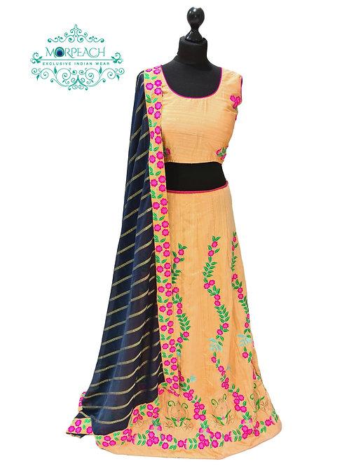 Yellow Embroidered Silk Lehenga (XL)
