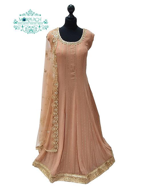 Light Brown Chiffon Dress (4XL)