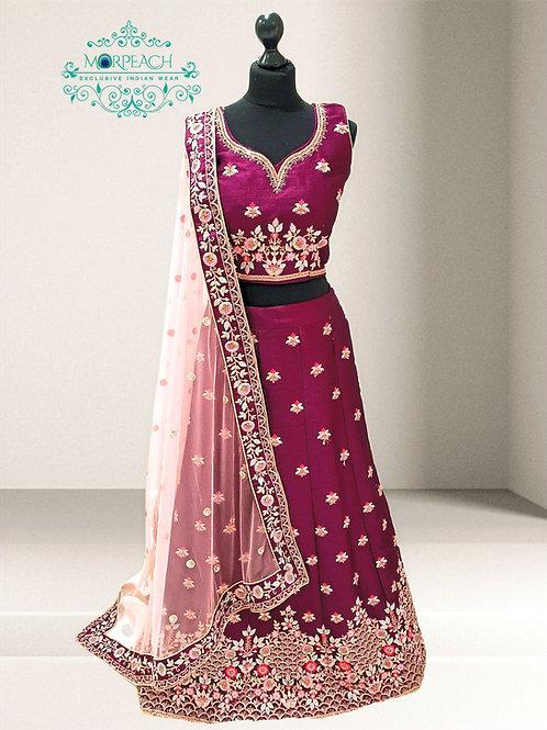 Purple and Pink Silk Lehenga (R)