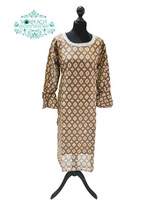 Brown And White Silk Kurti (5XL)