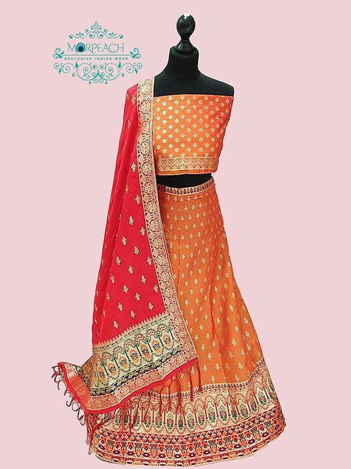 Orange Semi Stitched Silk Lehenga (4XL)