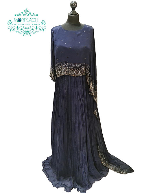 Blue Poncho Style Swaroski Gown (2XL)