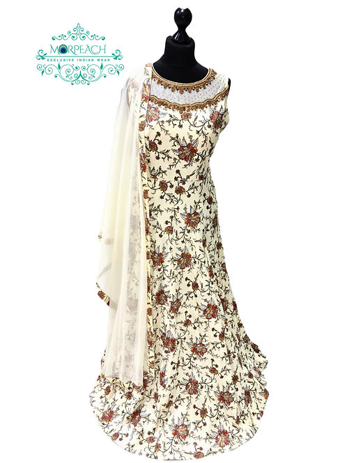 Off White Floral Silk Dress (Reg)