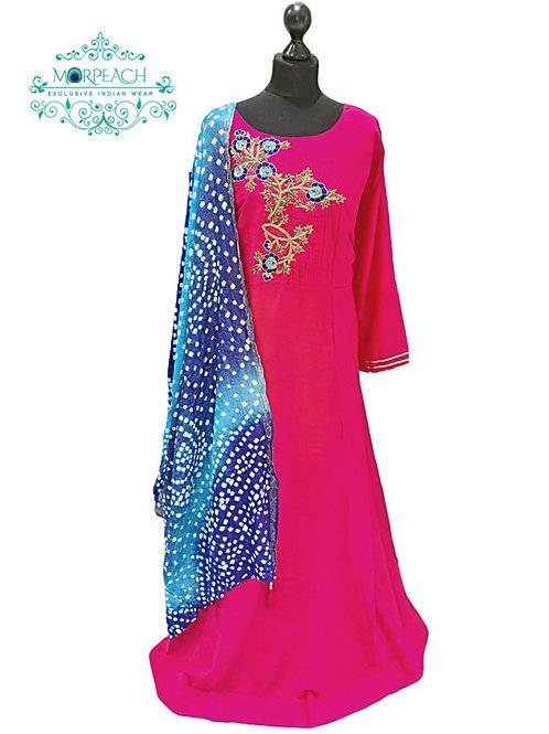 Pink & Blue Bandhni Dupatta Dress (XL)