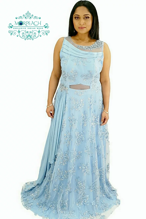 Baby Blue Net Partywear Dress (R)
