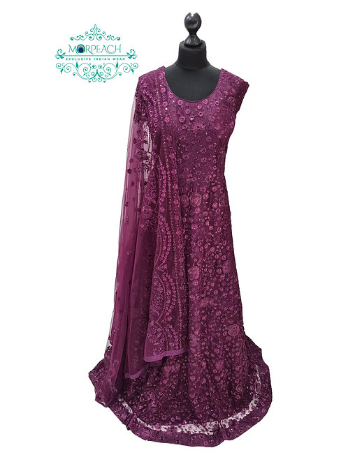 Purple Embroidered Sequence Dress (4XL)