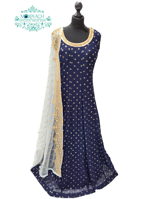Navy Blue Gold Sequence Embossed Dress (5XL)