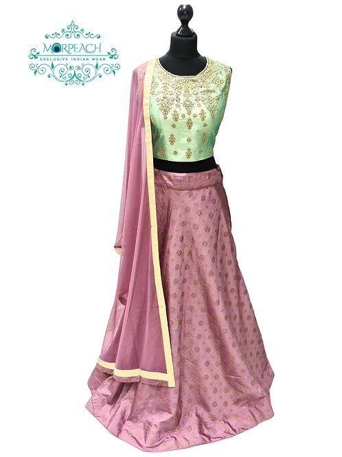 Pink & Green Embossed Lehenga (XL)