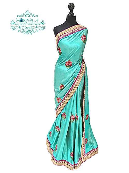 Turquoise Mirror Border Silk Saree
