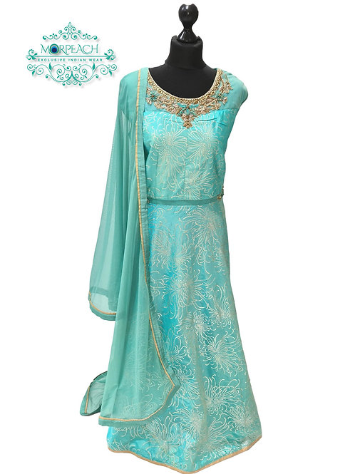 Blue Embossed Silk Dress (4XL)