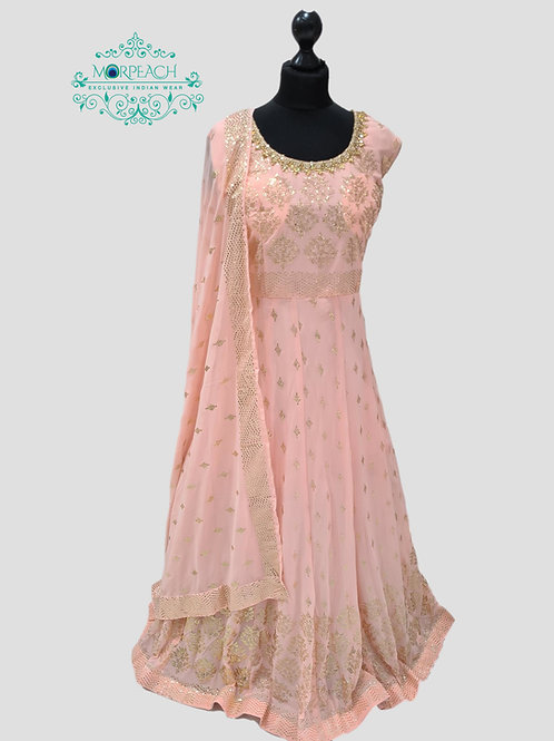 Pastel Pink Gold Embossed Sequence Dress (5XL)