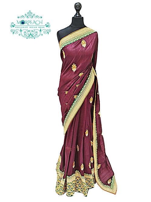 Brown Threadwork Silk Saree