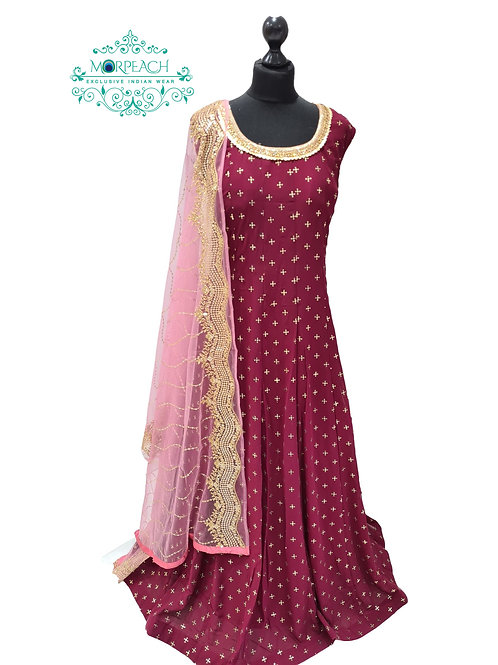 Magenta Gold Sequence Embossed Dress (5XL)