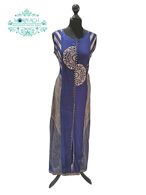 Navy Blue Long Rayon Kurti (5XL)