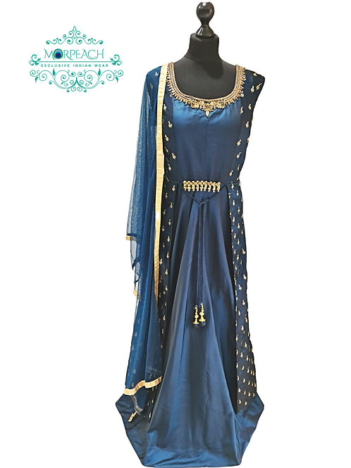 Shiny Blue Attached Jacket Dress