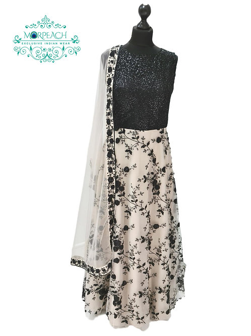 Black and Cream Net Sequence Gown (R)