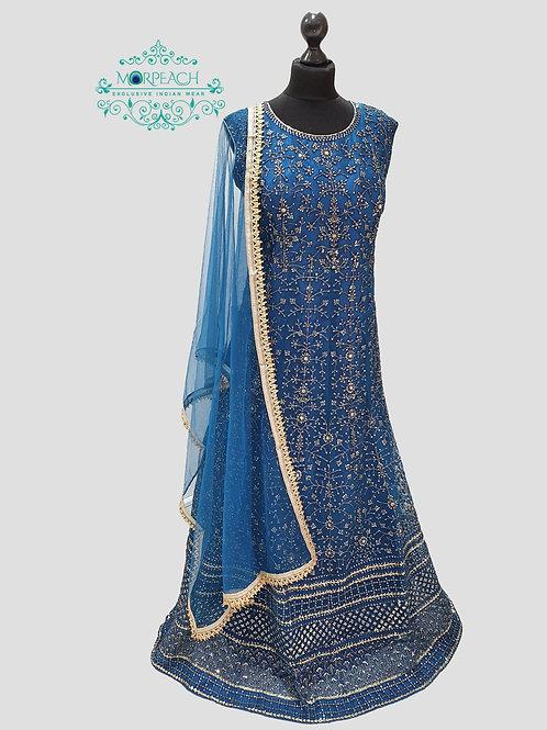 Morpeach Blue Allover Sequence Dress (4XL)