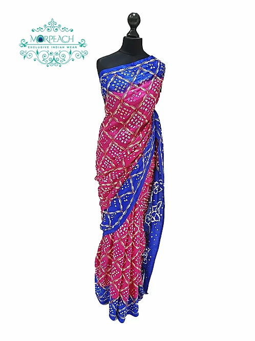 Pink and Blue Bandhni Saree