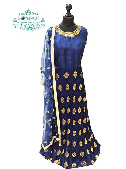 Dark Blue Soft Silk Dress (XL)