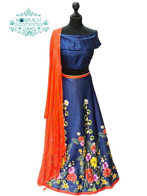 Blue Orange Floral Lehenga (Reg)