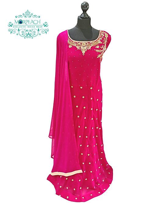Pink & Gold Butti Dress (4XL)